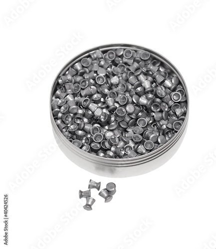Aluminum can of lead pellets isolated on white