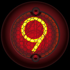 Digit 9 (nine). Nixie tube indicator