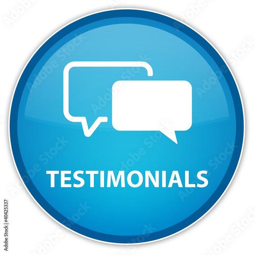 """Testimonials"" blue button"