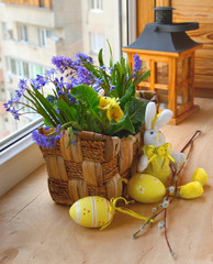 easter decorating of balcony