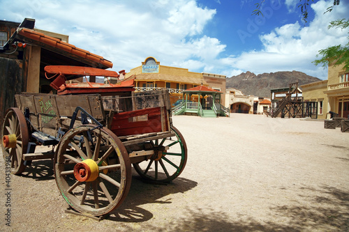 Antique american cart in old western city , Arizona, USA