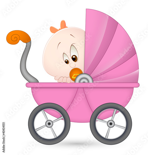 Baby Girl in Baby Carriage