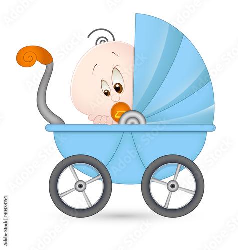 Cute Baby in Baby Stroller