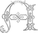 A Celtic Knot-work Capital Letter A Stylized Outline