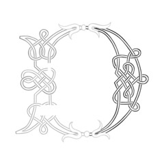 A Celtic Knot-work Capital Letter D Stylized Outline