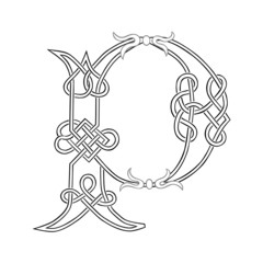 A Celtic Knot-work Capital Letter P Stylized Outline