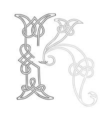 A Celtic Knot-work Capital Letter K Stylized Outline