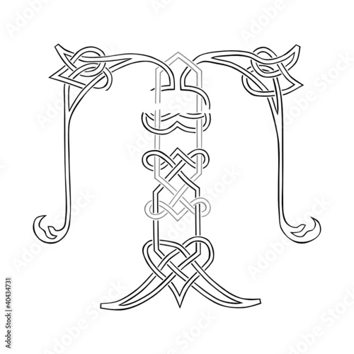 A Celtic Knot-work Capital Letter T Stylized Outline