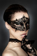 canvas print picture - Black Mask Fantasy Erotik
