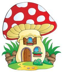 Cartoon mushroom house