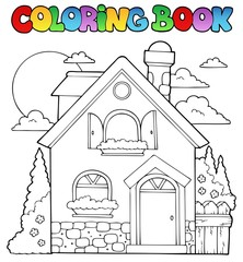 Coloring book house theme image 1