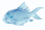 Water in form fish. 3d rendering