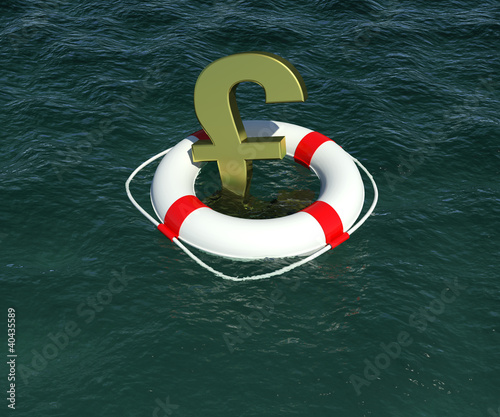 Gold sign of the English pound in lifebuoy floating on the water
