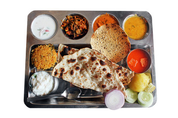 Traditional north indian plate meals or lunch with roti