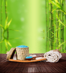 Spa still life with bamboo background