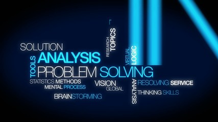 Solution Analysis problem solving tag cloud blue video