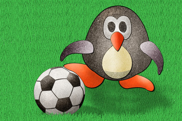 Penguin football  recycled paper craft stick