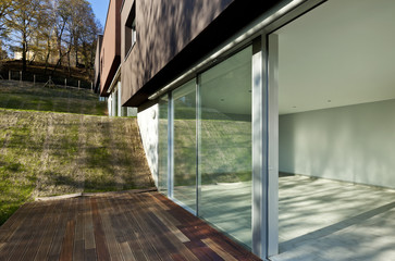 beautiful modern house, view of the interior from the patio