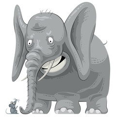 Scared elephant seeing mouse