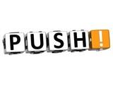 3D Push Block Text  on white