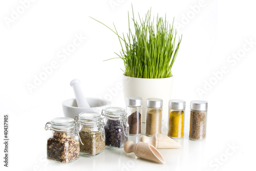spices with chive and mortar - 40437985