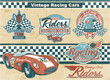 Racing car vintage elements
