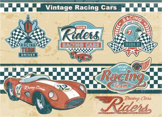 Racing car vintage elements