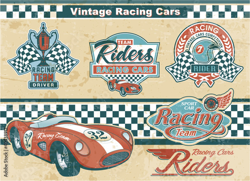 Racing car vintage elements - 40438912