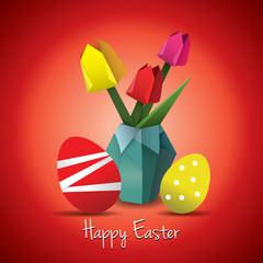 Red Easter origami card
