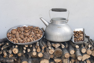 teapot and nuts