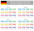 2013-2016 Type-1 German Calendar Mon-Sun on white background
