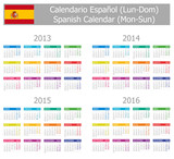 2013-2016 Type-1 Spanish Calendar Mon-Sun on white background