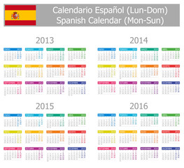 2013-2016 Type-1 Spanish Calendar Mon-Sun on white background