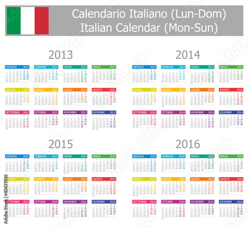 2013-2016 Type-1 Italian Calendar Mon-Sun on white background