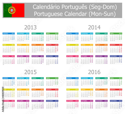 2013-2016 Type-1 Portuguese Calendar Mon-Sun on white background