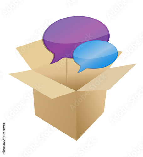 box with message bubbles illustration design over white