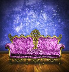 victorian sofa in retro room