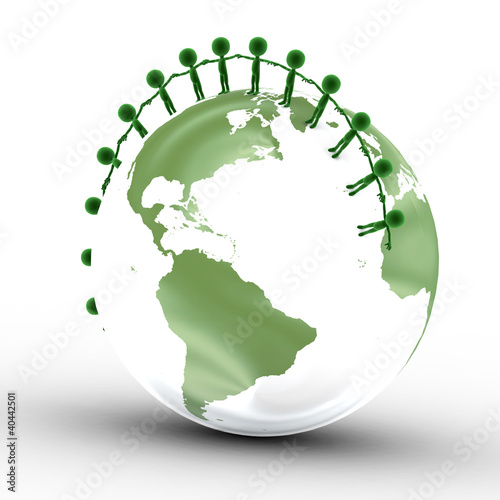 Earth globe and conceptual people together