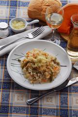 Risotto alla zucca e fagioli Risotto with pumpkin and beans