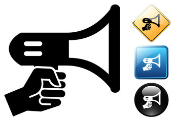 Megaphone pictogram and icons