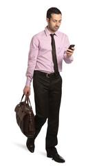 architetto con borsa e telefono