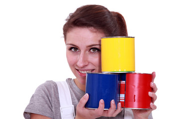 Painter with paint cans