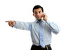 Businessman on telephone pointing
