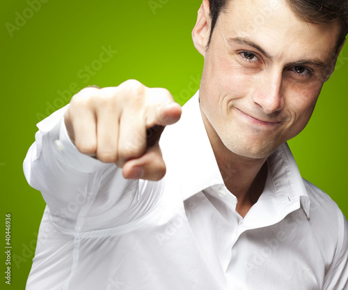 man pointing with finger