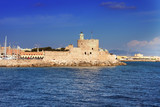 Greece.Rhodes.An ancient fortification round an old city..