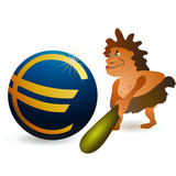 Caveman striking big Euro ball with big cudgel