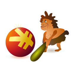 Caveman striking big Yuan ball with big cudgel