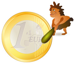 Caveman striking big Euro coin with big cudgel