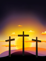 three crosses on the Calvary with sunset