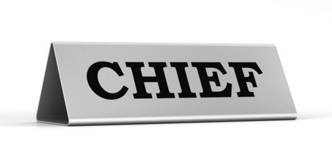 Silver identification plate of the chief position